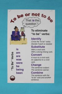 "Reduce the amount of ""to be"" verbs and replace with vivid verbs."
