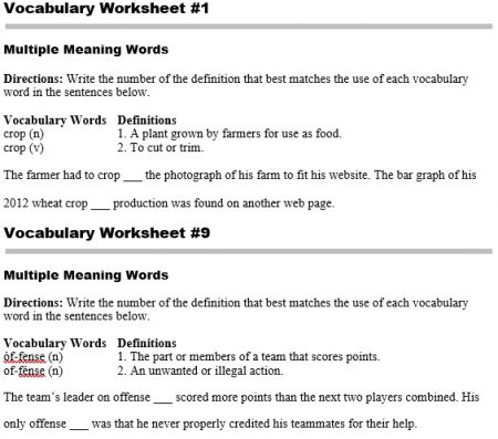 Vocabulary worksheets pennington publishing blog homonyms multiple meaning words fandeluxe Gallery