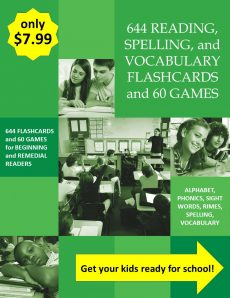 644 Reading, Spelling, and Vocabulary Flashcards and 60 Games