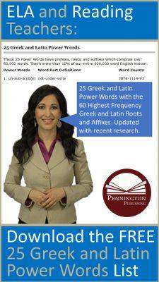 25 Greek and Latin Power Words by Pennington Publishing